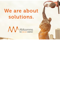 "AMcomms banner with text ""We are about solutions"""